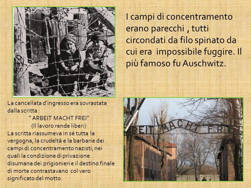 I campi di concentramento erano parecchi, tutti circondati da filo spinato da cui era impossibile fuggire. Il più famoso fu Auschwitz. La cancellata d