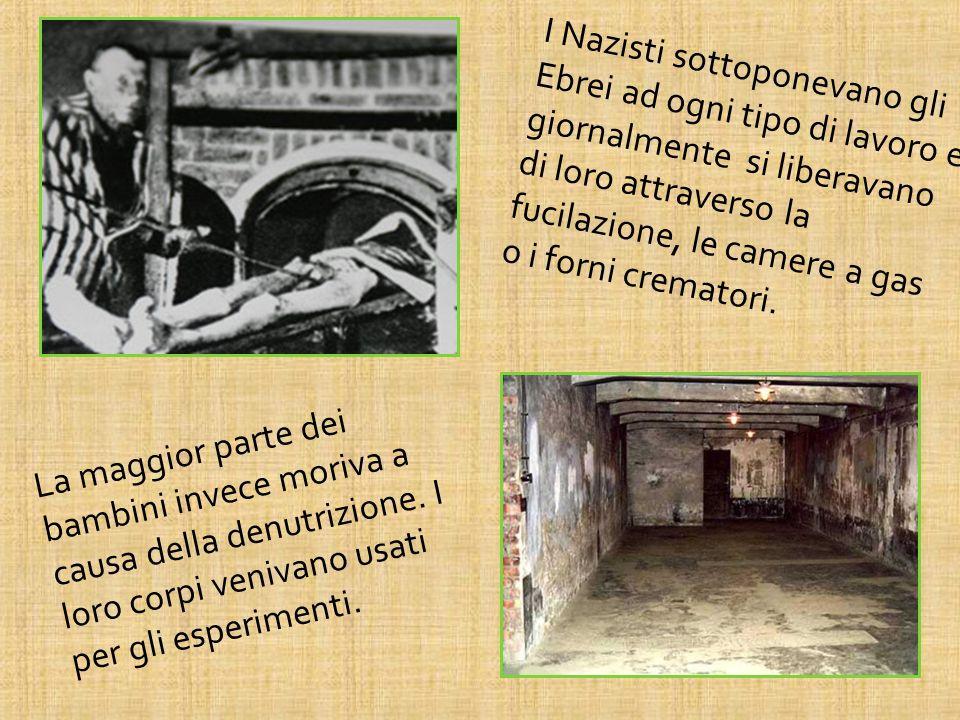 I Nazisti sottoponevano gli Ebrei ad ogni tipo di lavoro e giornalmente si liberavano di loro attraverso la fucilazione, le camere a gas o i forni cre