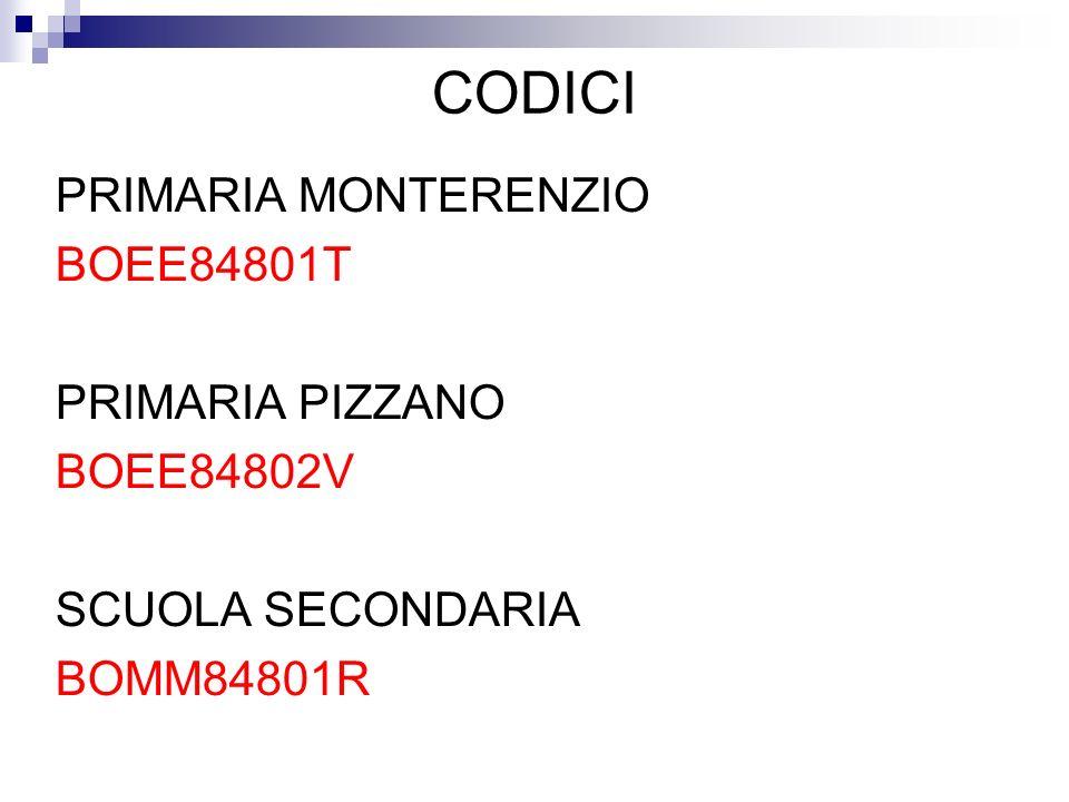 CODICI PRIMARIA MONTERENZIO BOEE84801T PRIMARIA PIZZANO BOEE84802V SCUOLA SECONDARIA BOMM84801R