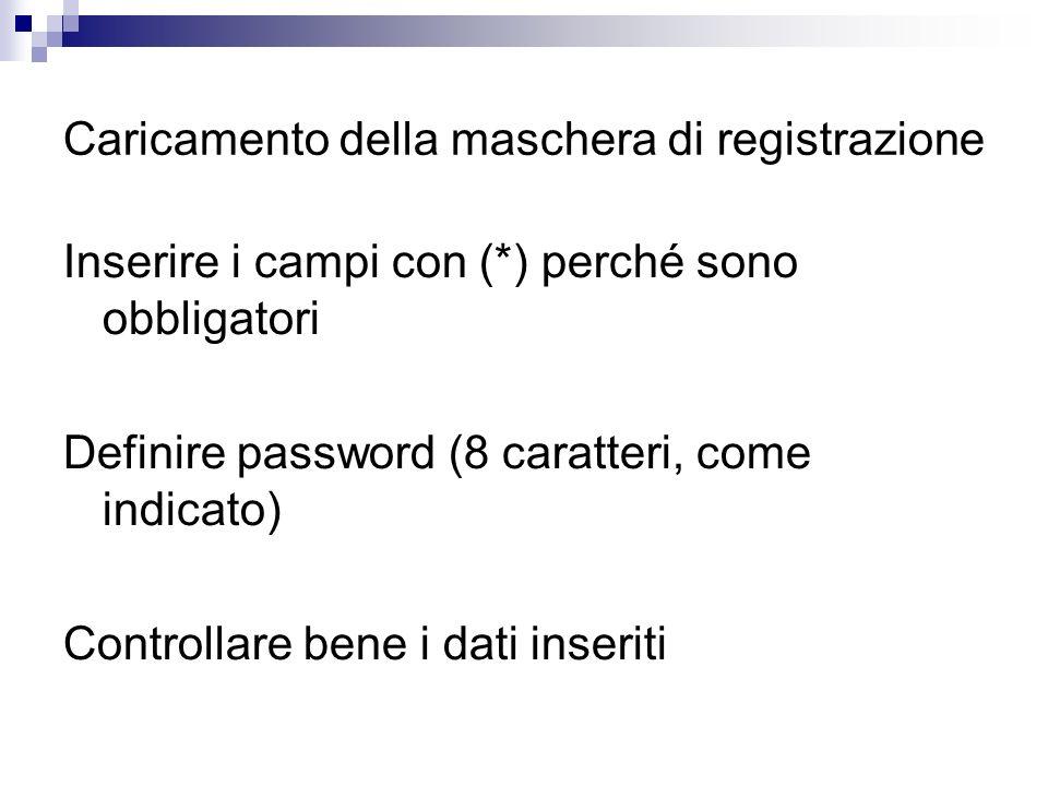 Caricamento della maschera di registrazione Inserire i campi con (*) perché sono obbligatori Definire password (8 caratteri, come indicato) Controllar