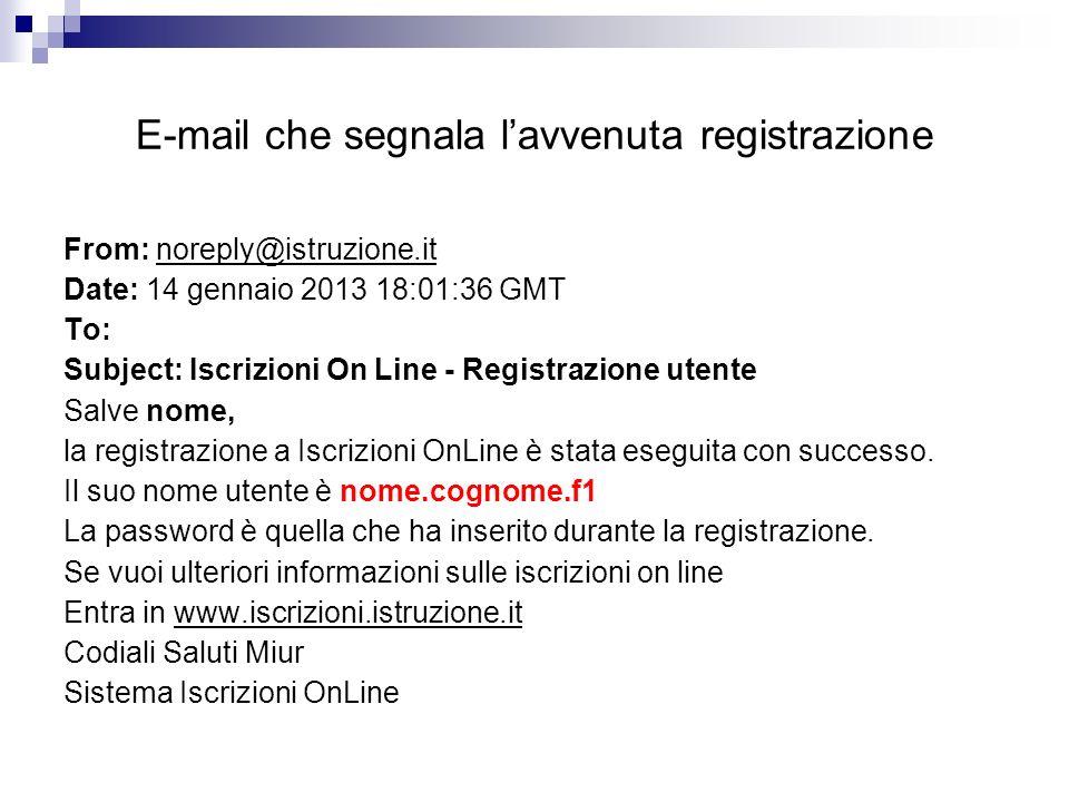 E-mail che segnala lavvenuta registrazione From: noreply@istruzione.it Date: 14 gennaio 2013 18:01:36 GMT To: Subject: Iscrizioni On Line - Registrazi