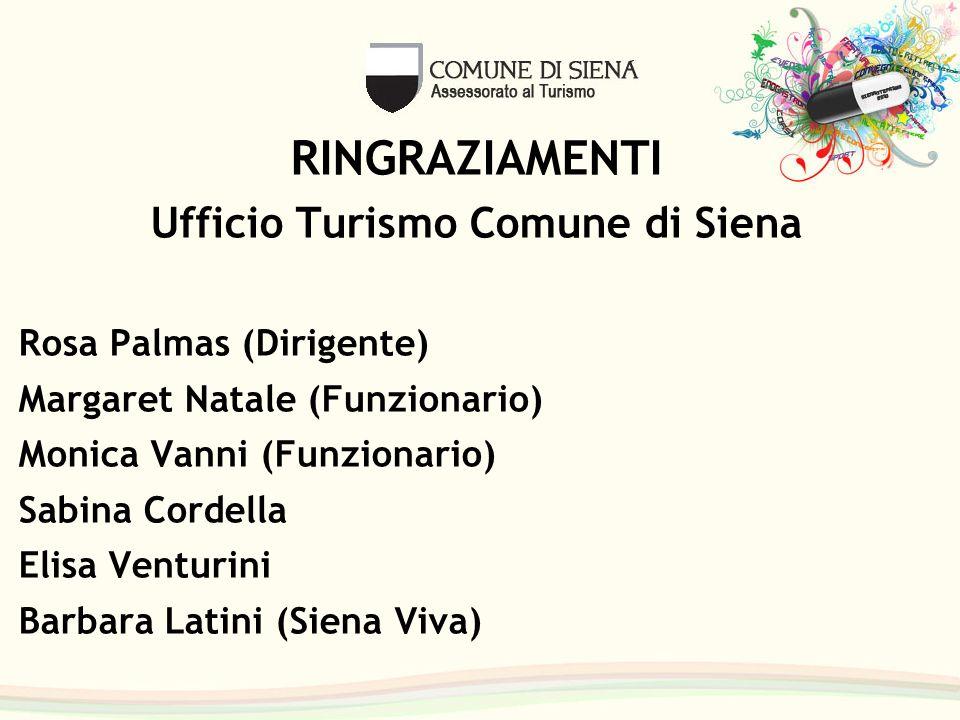 RINGRAZIAMENTI Ufficio Turismo Comune di Siena Rosa Palmas (Dirigente) Margaret Natale (Funzionario) Monica Vanni (Funzionario) Sabina Cordella Elisa