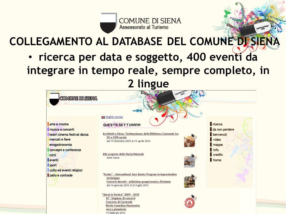 ricerca per data e soggetto, 400 eventi da integrare in tempo reale, sempre completo, in 2 lingue COLLEGAMENTO AL DATABASE DEL COMUNE DI SIENA