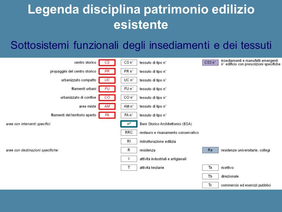 Legenda disciplina patrimonio edilizio esistente Sottosistemi funzionali degli insediamenti e dei tessuti
