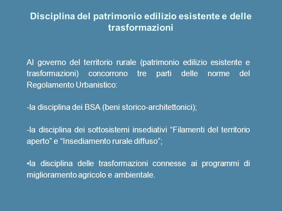 Al governo del territorio rurale (patrimonio edilizio esistente e trasformazioni) concorrono tre parti delle norme del Regolamento Urbanistico: -la di