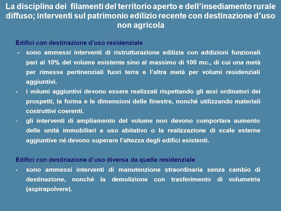 La disciplina dei filamenti del territorio aperto e dellinsediamento rurale diffuso; interventi sul patrimonio edilizio recente con destinazione duso