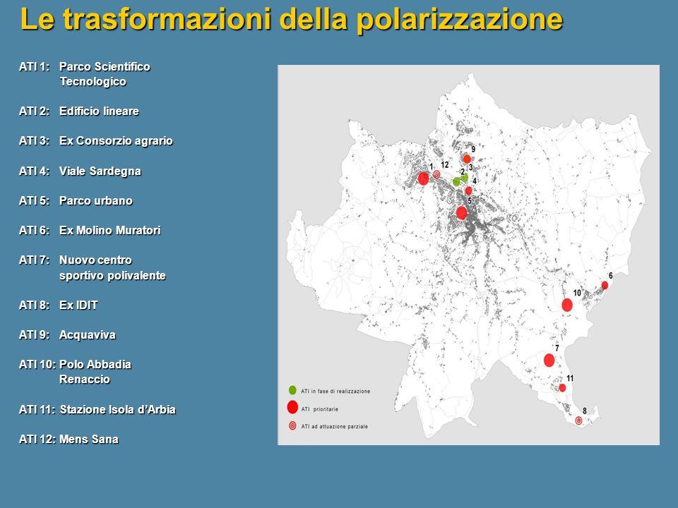 ATI 1: Parco Scientifico Tecnologico ATI 2: Edificio lineare ATI 3: Ex Consorzio agrario ATI 4: Viale Sardegna ATI 5: Parco urbano ATI 6: Ex Molino Mu