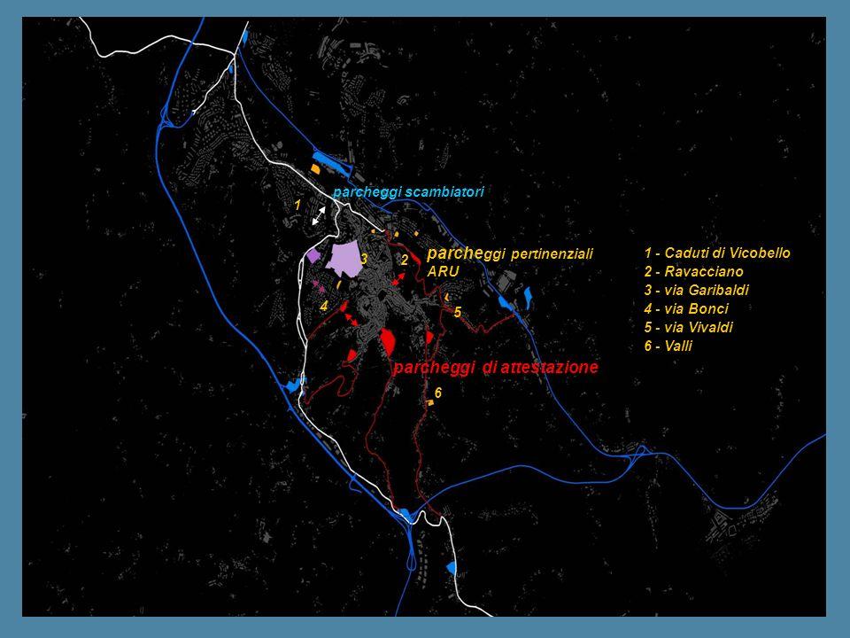 parcheggi scambiatori parcheggi di attestazione parche ggi pertinenziali ARU 1 2 3 6 4 5 1 - Caduti di Vicobello 2 - Ravacciano 3 - via Garibaldi 4 -