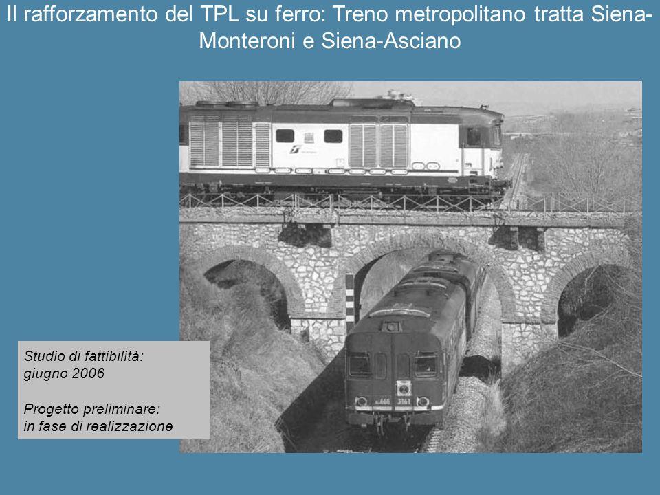 Studio di fattibilità: giugno 2006 Progetto preliminare: in fase di realizzazione Il rafforzamento del TPL su ferro: Treno metropolitano tratta Siena-