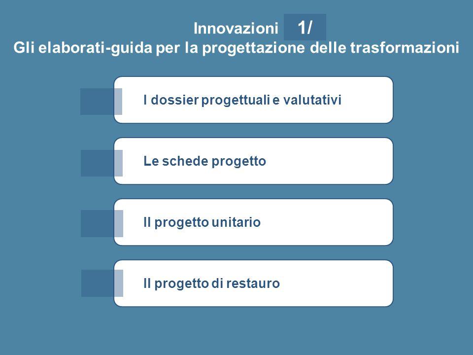 I dossier progettuali e valutativi Innovazioni Gli elaborati-guida per la progettazione delle trasformazioni Le schede progetto Il progetto unitario 1