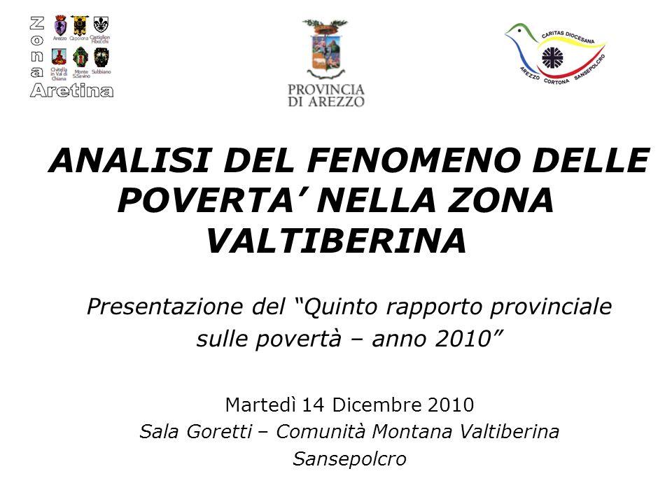 ANALISI DEL FENOMENO DELLE POVERTA NELLA ZONA VALTIBERINA Presentazione del Quinto rapporto provinciale sulle povertà – anno 2010 Martedì 14 Dicembre