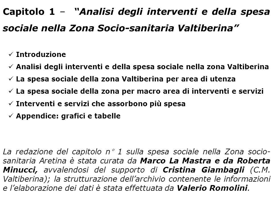 Capitolo 1 – Analisi degli interventi e della spesa sociale nella Zona Socio-sanitaria Valtiberina Introduzione Analisi degli interventi e della spesa