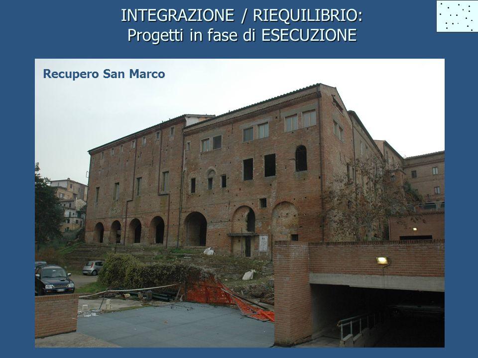 INTEGRAZIONE / RIEQUILIBRIO: Progetti in fase di ESECUZIONE Recupero San Marco