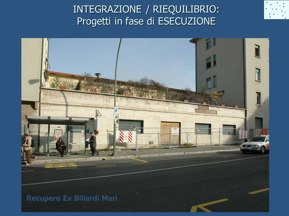 INTEGRAZIONE / RIEQUILIBRIO: Progetti in fase di ESECUZIONE Recupero Ex Biliardi Mari