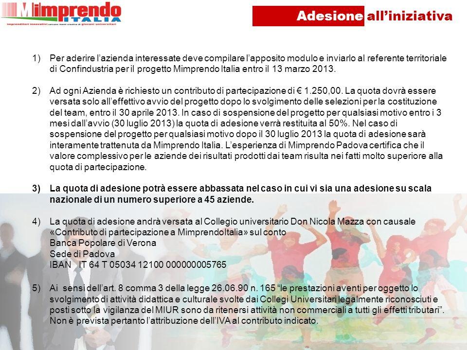 Adesione alliniziativa 1)Per aderire lazienda interessate deve compilare lapposito modulo e inviarlo al referente territoriale di Confindustria per il progetto Mimprendo Italia entro il 13 marzo 2013.