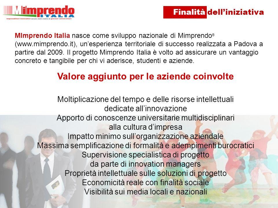 MImprendo Italia nasce come sviluppo nazionale di Mimprendo ® (www.mimprendo.it), unesperienza territoriale di successo realizzata a Padova a partire dal 2009.