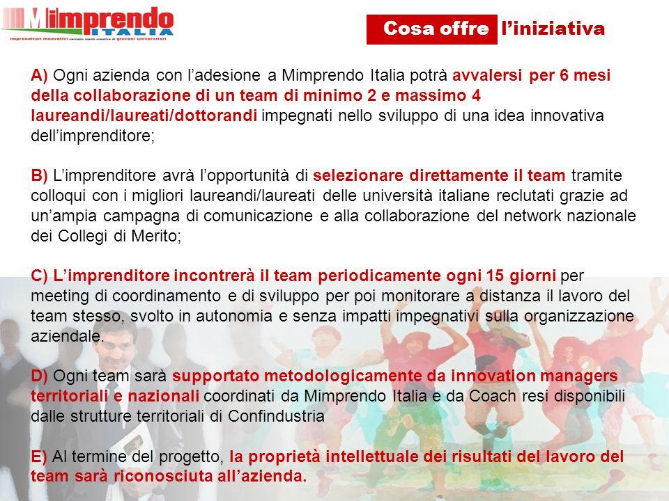 A) Ogni azienda con ladesione a Mimprendo Italia potrà avvalersi per 6 mesi della collaborazione di un team di minimo 2 e massimo 4 laureandi/laureati/dottorandi impegnati nello sviluppo di una idea innovativa dellimprenditore; B) Limprenditore avrà lopportunità di selezionare direttamente il team tramite colloqui con i migliori laureandi/laureati delle università italiane reclutati grazie ad unampia campagna di comunicazione e alla collaborazione del network nazionale dei Collegi di Merito; C) Limprenditore incontrerà il team periodicamente ogni 15 giorni per meeting di coordinamento e di sviluppo per poi monitorare a distanza il lavoro del team stesso, svolto in autonomia e senza impatti impegnativi sulla organizzazione aziendale.