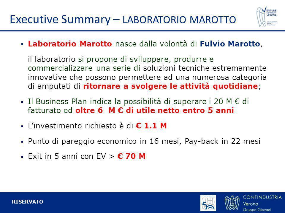 Executive Summary – LABORATORIO MAROTTO Laboratorio Marotto nasce dalla volontà di Fulvio Marotto, il laboratorio si propone di sviluppare, produrre e