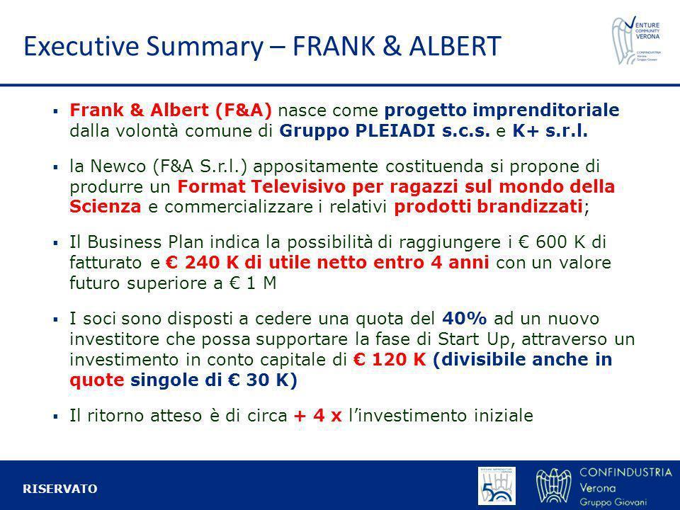 Executive Summary – FRANK & ALBERT Frank & Albert (F&A) nasce come progetto imprenditoriale dalla volontà comune di Gruppo PLEIADI s.c.s. e K+ s.r.l.