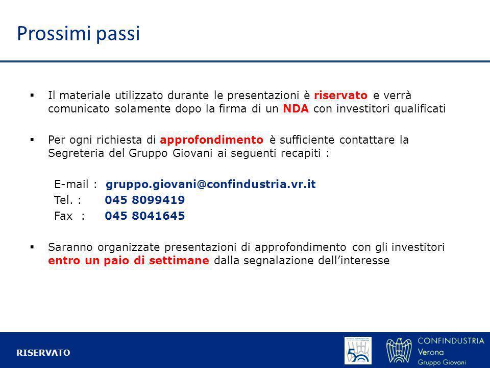 Prossimi passi Il materiale utilizzato durante le presentazioni è riservato e verrà comunicato solamente dopo la firma di un NDA con investitori quali