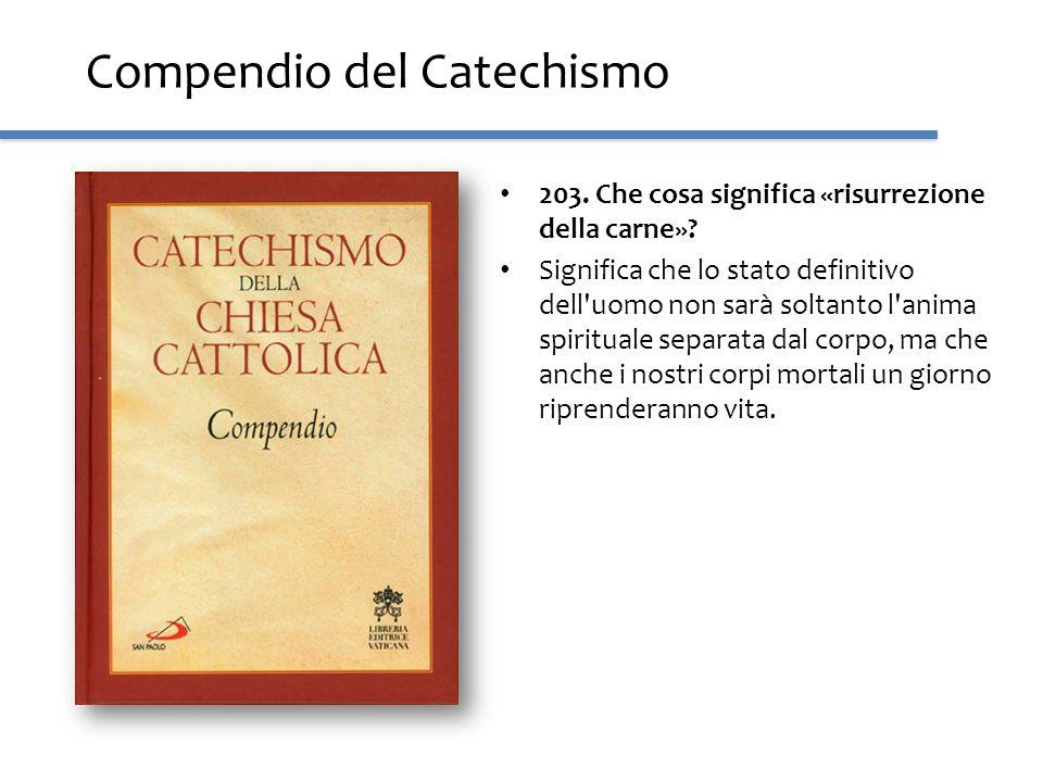 Compendio del Catechismo 203. Che cosa significa «risurrezione della carne»? Significa che lo stato definitivo dell'uomo non sarà soltanto l'anima spi