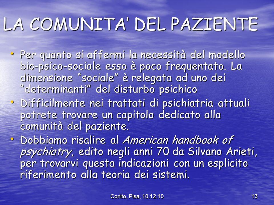 Corlito, Pisa, 10.12.1013 LA COMUNITA DEL PAZIENTE Per quanto si affermi la necessità del modello bio-psico-sociale esso è poco frequentato.