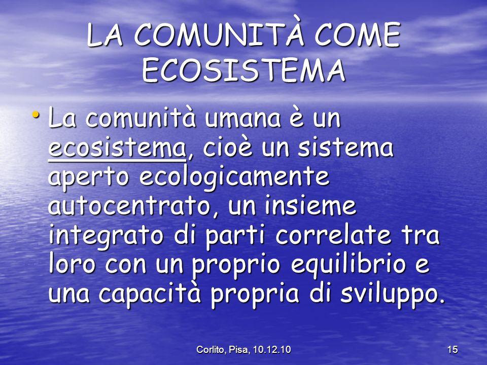 Corlito, Pisa, 10.12.1015 LA COMUNITÀ COME ECOSISTEMA La comunità umana è un ecosistema, cioè un sistema aperto ecologicamente autocentrato, un insieme integrato di parti correlate tra loro con un proprio equilibrio e una capacità propria di sviluppo.