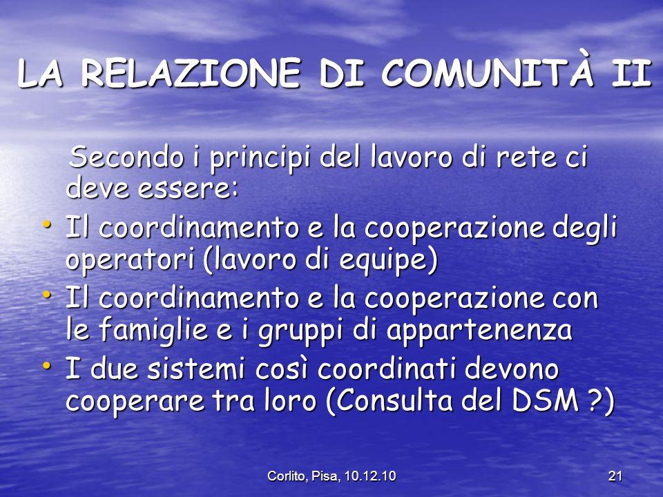 Corlito, Pisa, 10.12.1021 LA RELAZIONE DI COMUNITÀ II LA RELAZIONE DI COMUNITÀ II Secondo i principi del lavoro di rete ci deve essere: Secondo i principi del lavoro di rete ci deve essere: Il coordinamento e la cooperazione degli operatori (lavoro di equipe) Il coordinamento e la cooperazione degli operatori (lavoro di equipe) Il coordinamento e la cooperazione con le famiglie e i gruppi di appartenenza Il coordinamento e la cooperazione con le famiglie e i gruppi di appartenenza I due sistemi così coordinati devono cooperare tra loro (Consulta del DSM ?) I due sistemi così coordinati devono cooperare tra loro (Consulta del DSM ?)