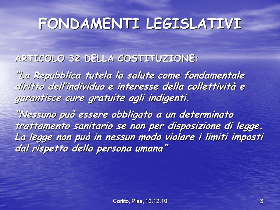 Corlito, Pisa, 10.12.103 FONDAMENTI LEGISLATIVI ARTICOLO 32 DELLA COSTITUZIONE: La Repubblica tutela la salute come fondamentale diritto dellindividuo e interesse della collettività e garantisce cure gratuite agli indigenti.