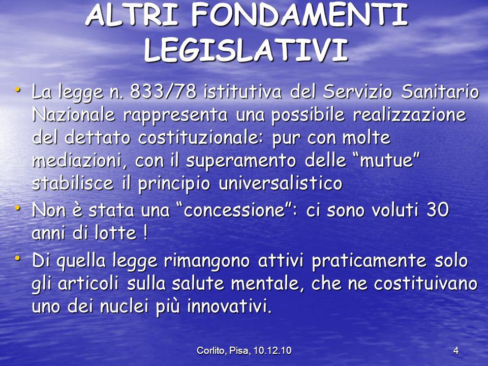 Corlito, Pisa, 10.12.104 ALTRI FONDAMENTI LEGISLATIVI La legge n.