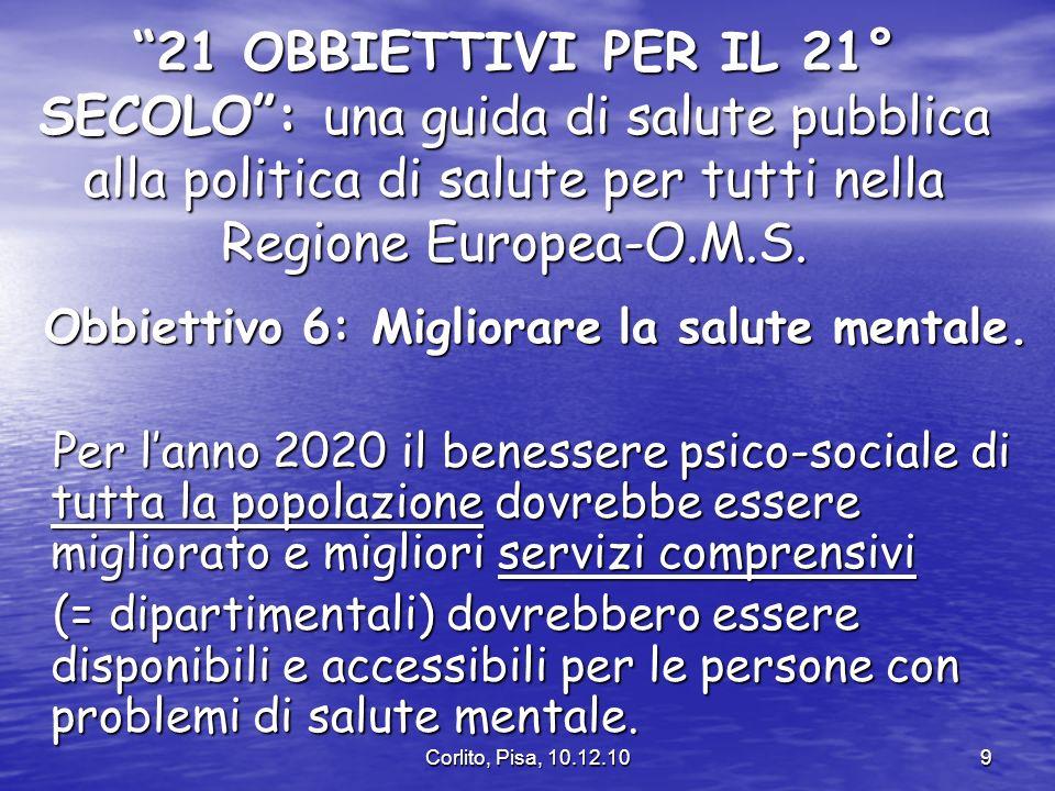 Corlito, Pisa, 10.12.109 21 OBBIETTIVI PER IL 21° SECOLO: una guida di salute pubblica alla politica di salute per tutti nella Regione Europea-O.M.S.