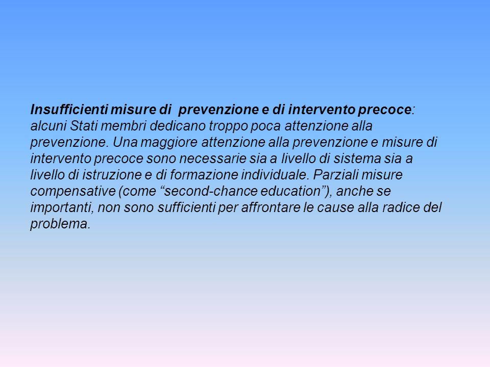 Insufficienti misure di prevenzione e di intervento precoce: alcuni Stati membri dedicano troppo poca attenzione alla prevenzione.