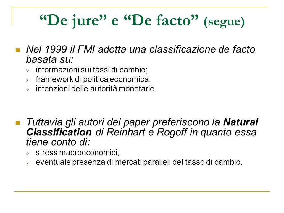 De jure e De facto (segue) Nel 1999 il FMI adotta una classificazione de facto basata su: informazioni sui tassi di cambio; framework di politica economica; intenzioni delle autorità monetarie.