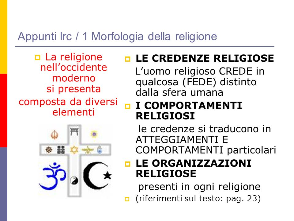Appunti Irc / 1 Morfologia della religione La religione nelloccidente moderno si presenta composta da diversi elementi LE CREDENZE RELIGIOSE Luomo rel
