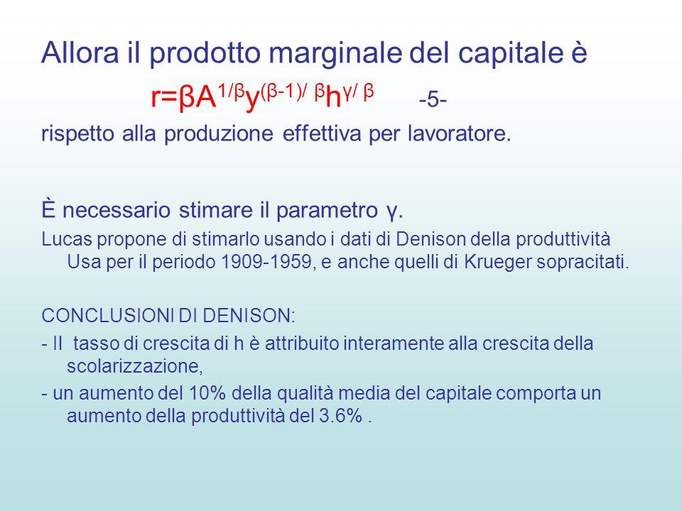 Allora il prodotto marginale del capitale è r=βA 1/β y (β-1)/ β h γ/ β -5- rispetto alla produzione effettiva per lavoratore.