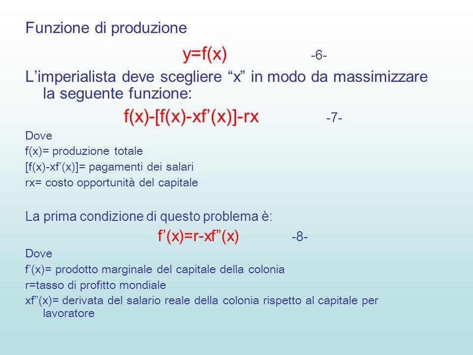 Funzione di produzione y=f(x) -6- Limperialista deve scegliere x in modo da massimizzare la seguente funzione: f(x)-[f(x)-xf(x)]-rx -7- Dove f(x)= produzione totale [f(x)-xf(x)]= pagamenti dei salari rx= costo opportunità del capitale La prima condizione di questo problema è: f(x)=r-xf(x) -8- Dove f(x)= prodotto marginale del capitale della colonia r=tasso di profitto mondiale xf(x)= derivata del salario reale della colonia rispetto al capitale per lavoratore