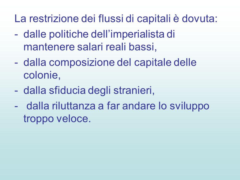 La restrizione dei flussi di capitali è dovuta: -dalle politiche dellimperialista di mantenere salari reali bassi, -dalla composizione del capitale delle colonie, -dalla sfiducia degli stranieri, - dalla riluttanza a far andare lo sviluppo troppo veloce.