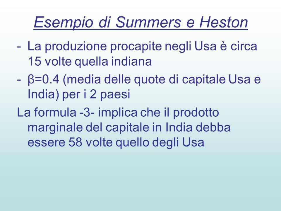 Esempio di Summers e Heston -La produzione procapite negli Usa è circa 15 volte quella indiana -β=0.4 (media delle quote di capitale Usa e India) per i 2 paesi La formula -3- implica che il prodotto marginale del capitale in India debba essere 58 volte quello degli Usa