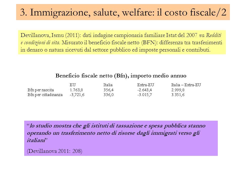 3. Immigrazione, salute, welfare: il costo fiscale/2 Devillanova, Ismu (2011): dati indagine campionaria familiare Istat del 2007 su Redditi e condizi