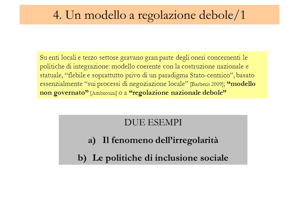 4. Un modello a regolazione debole/1 Su enti locali e terzo settore gravano gran parte degli oneri concernenti le politiche di integrazione: modello c
