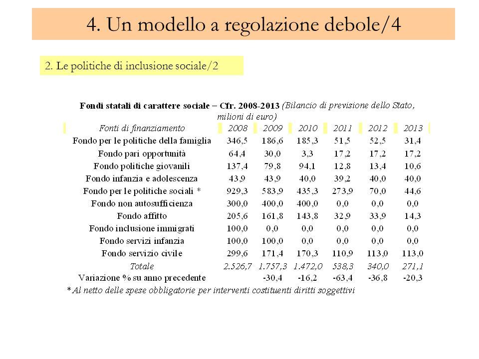 4. Un modello a regolazione debole/4 2. Le politiche di inclusione sociale/2