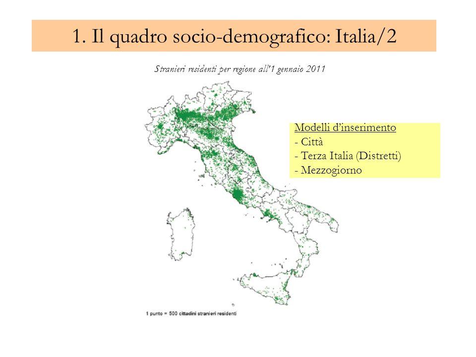 1. Il quadro socio-demografico: Italia/2 Stranieri residenti per regione all'1 gennaio 2011 Modelli dinserimento - Città - Terza Italia (Distretti) -