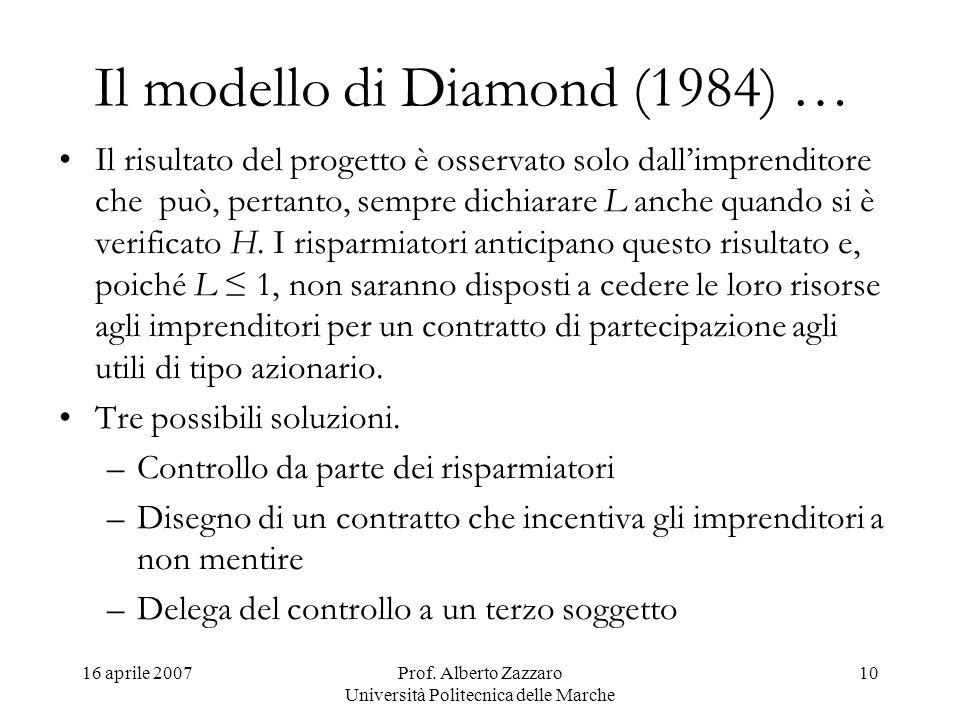 16 aprile 2007Prof. Alberto Zazzaro Università Politecnica delle Marche 10 Il modello di Diamond (1984) … Il risultato del progetto è osservato solo d