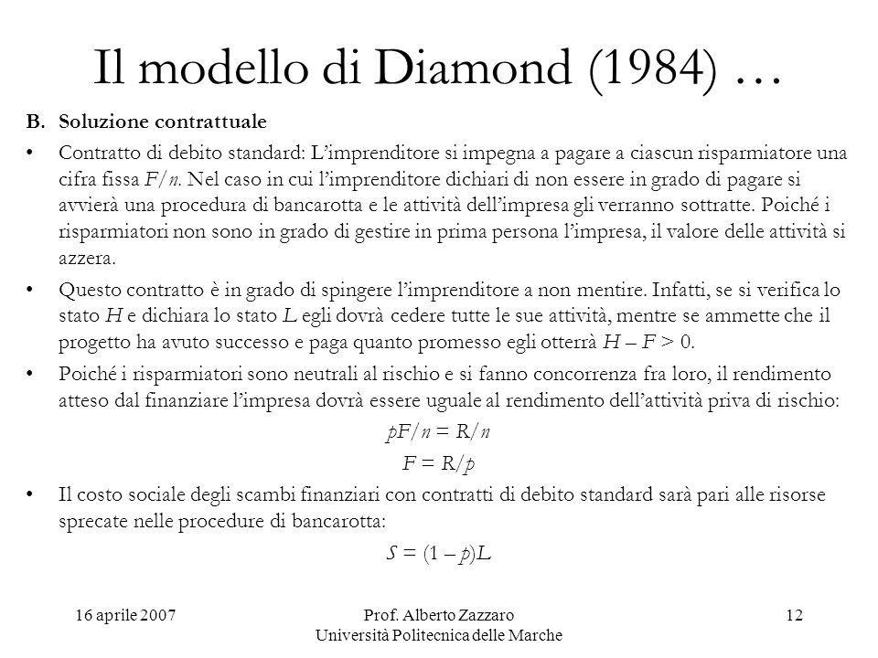 16 aprile 2007Prof. Alberto Zazzaro Università Politecnica delle Marche 12 Il modello di Diamond (1984) … B.Soluzione contrattuale Contratto di debito