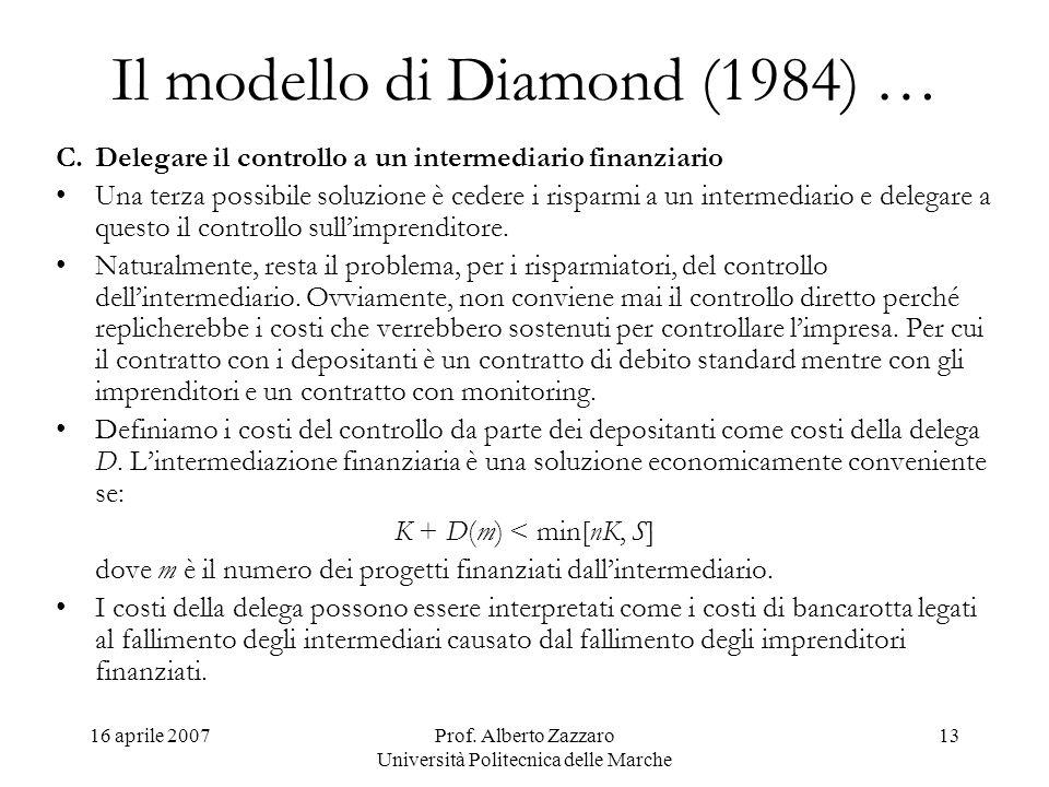 16 aprile 2007Prof. Alberto Zazzaro Università Politecnica delle Marche 13 Il modello di Diamond (1984) … C.Delegare il controllo a un intermediario f
