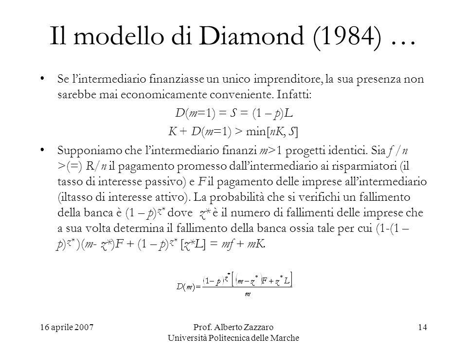16 aprile 2007Prof. Alberto Zazzaro Università Politecnica delle Marche 14 Il modello di Diamond (1984) … Se lintermediario finanziasse un unico impre