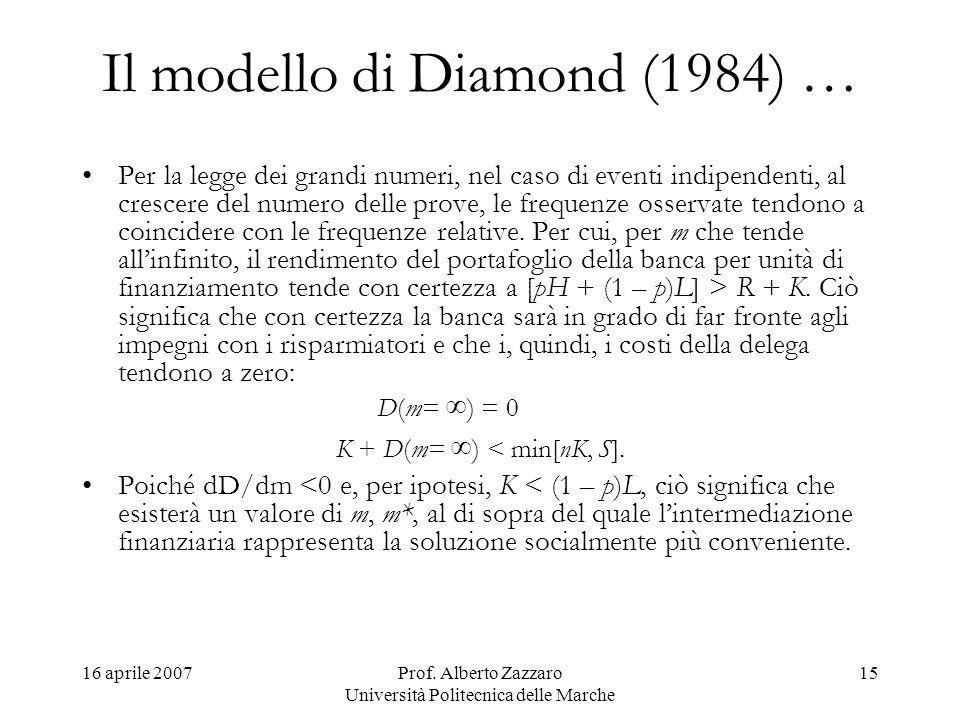 16 aprile 2007Prof. Alberto Zazzaro Università Politecnica delle Marche 15 Il modello di Diamond (1984) … Per la legge dei grandi numeri, nel caso di