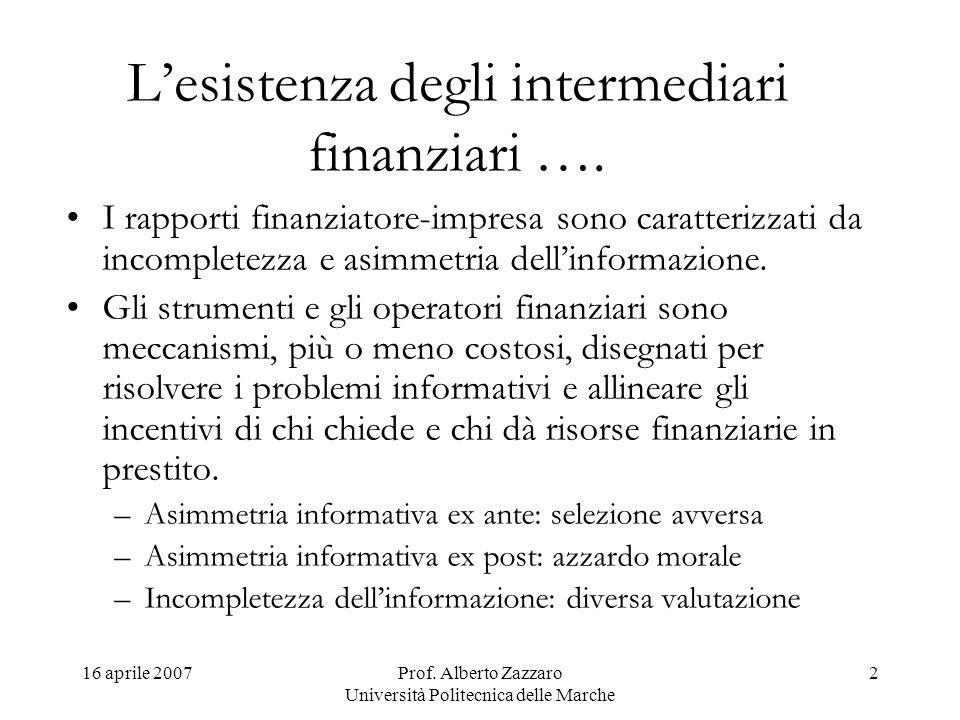 16 aprile 2007Prof. Alberto Zazzaro Università Politecnica delle Marche 2 Lesistenza degli intermediari finanziari …. I rapporti finanziatore-impresa