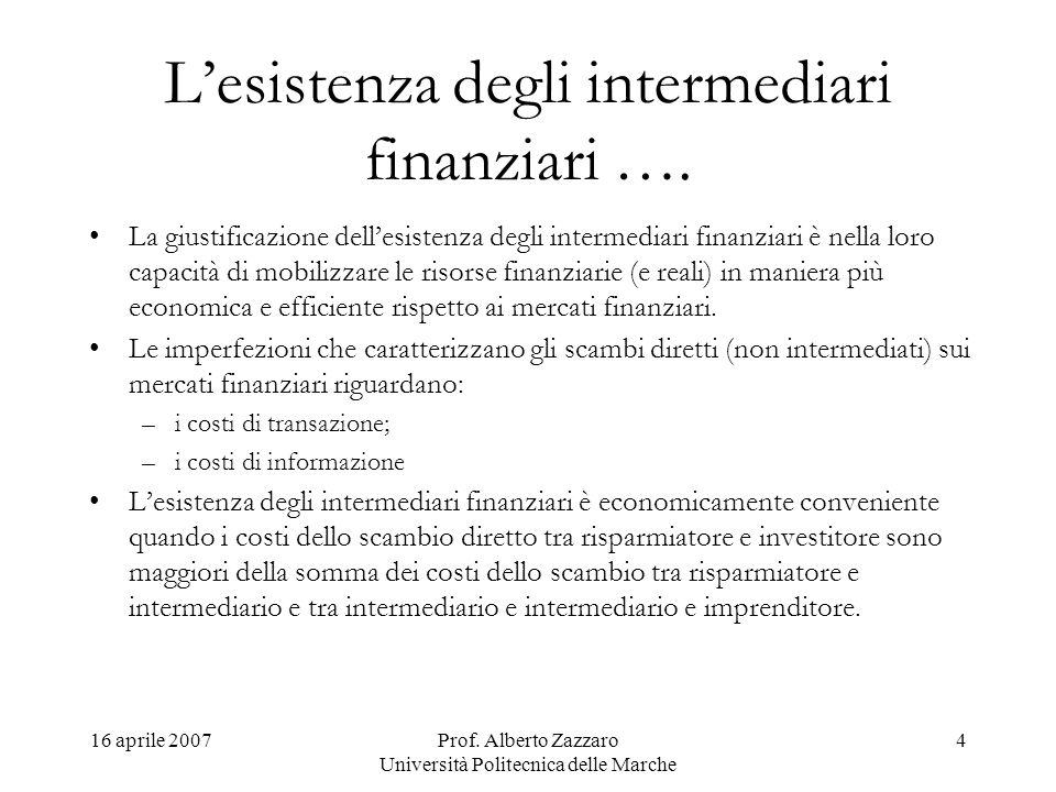 16 aprile 2007Prof. Alberto Zazzaro Università Politecnica delle Marche 4 Lesistenza degli intermediari finanziari …. La giustificazione dellesistenza