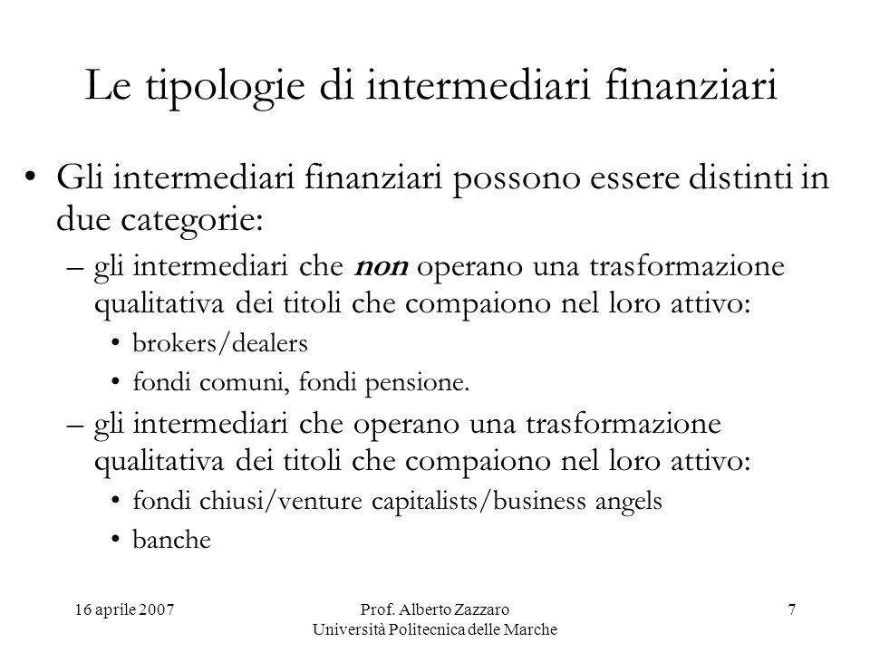 16 aprile 2007Prof. Alberto Zazzaro Università Politecnica delle Marche 7 Le tipologie di intermediari finanziari Gli intermediari finanziari possono